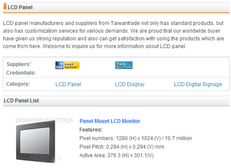 LCD Panel Manufacturers, Taiwan LCD Panel of Taiwantrade